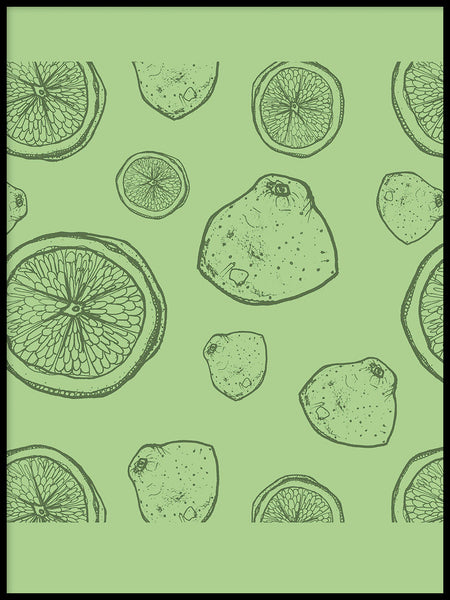 Poster: Lightgreen lemons, by Fia-Maria