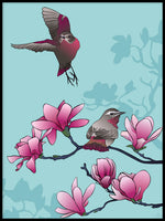 Poster: Magnolia and birds, by Linda Forsberg
