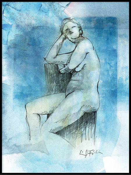 Poster: Model study in blue I, by Ingrid Fröhlich