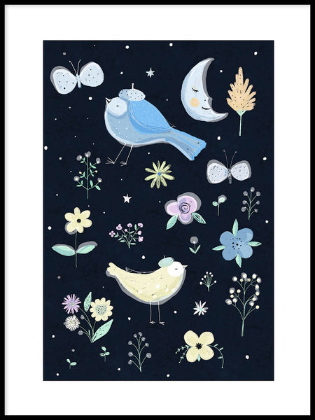 Poster: Moon Forest Birds, by Susse Collection