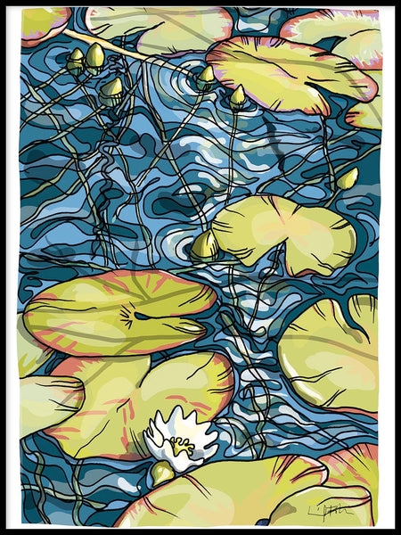 Poster: Water lilies, by Ingrid Fröhlich