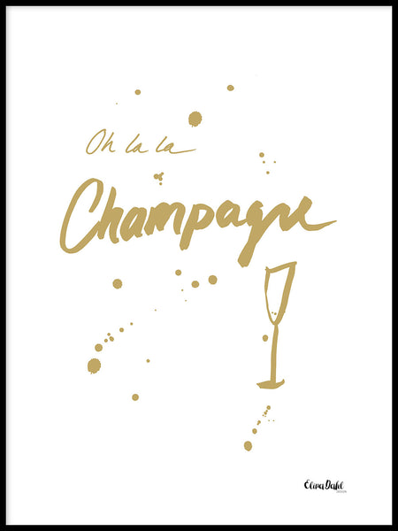 Poster: Oh la la Champagne, gold, by Elina Dahl