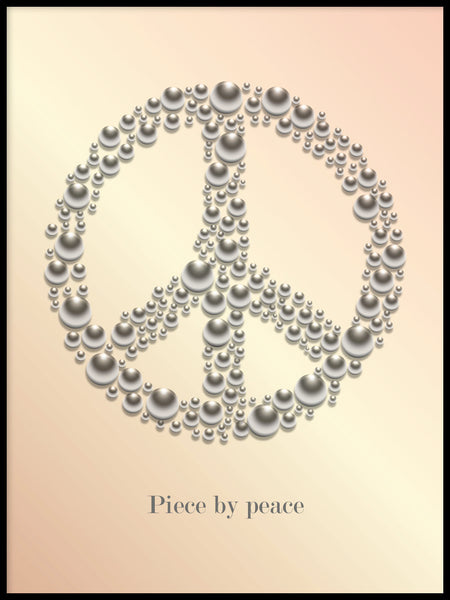 Poster: Peace with text, apricot, by GaboDesign