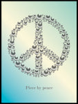 Poster: Peace with text, turquoise, by GaboDesign