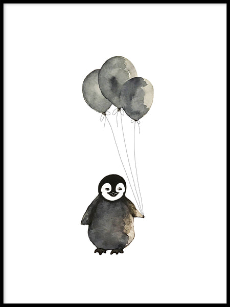 Poster: Penguin with balloons, by Lindblom of Sweden