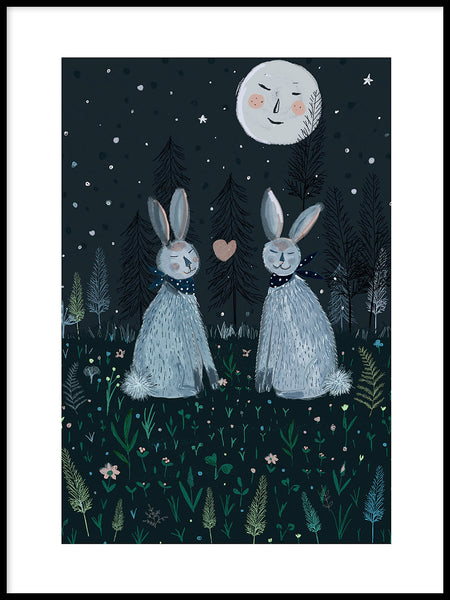 Poster: Rabbits in the forest, by Susse Collection