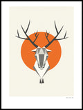 Poster: Reindeer, Orange, by Fröken Fräken Form