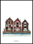 Poster: Boat houses in Huddik, by Ekkoform illustrations