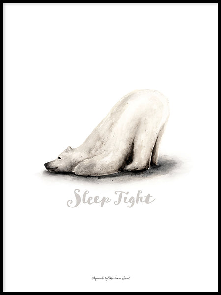 Poster: Sleep Tight (Polar bear), by Ekkoform illustrations