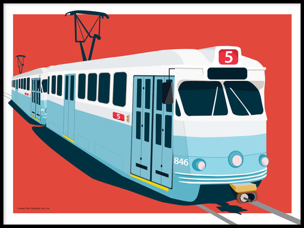 Poster: Spårvagn 5, by Pop-in Local graphics