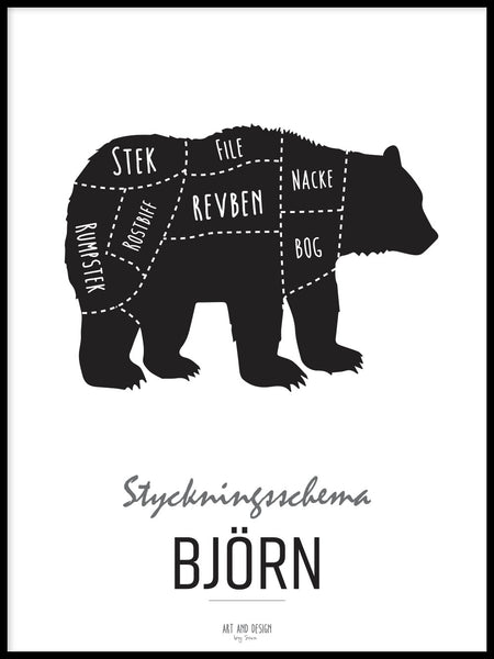 Poster: Cutting chart, Bear, by Art & Design by Sara