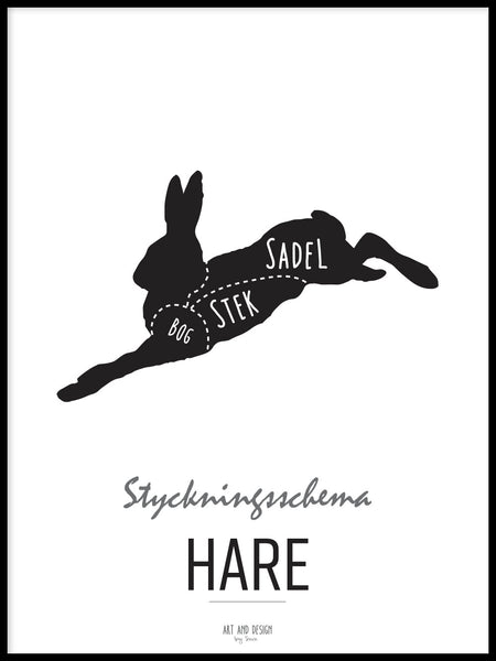 Poster: Cutting chart, Hare, av Art & Design by Sara