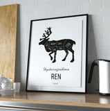 Poster: Cutting chart, Deer, by Art & Design by Sara