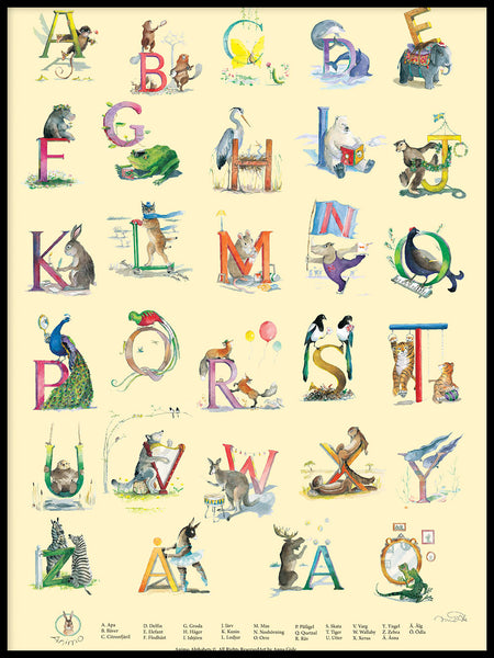 Poster: Swedish Animal Alphabet, by Animo