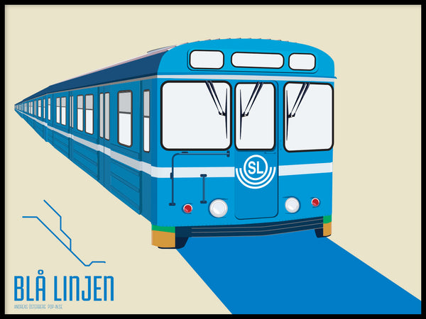 Poster: T-bana Blue line, by Pop-in Local graphics
