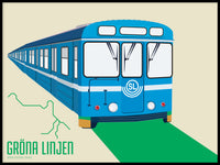 Poster: T-bana Green line, by Pop-in Local graphics