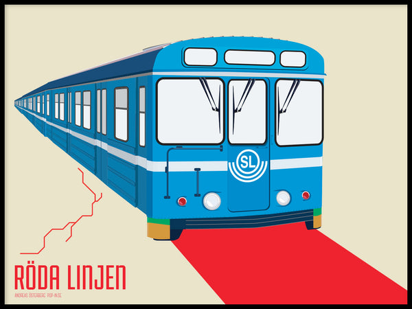 Poster: T-bana Red line, by Pop-in Local graphics