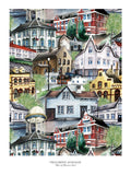 Poster: Trehusbyen Levanger, by Ekkoform illustrations