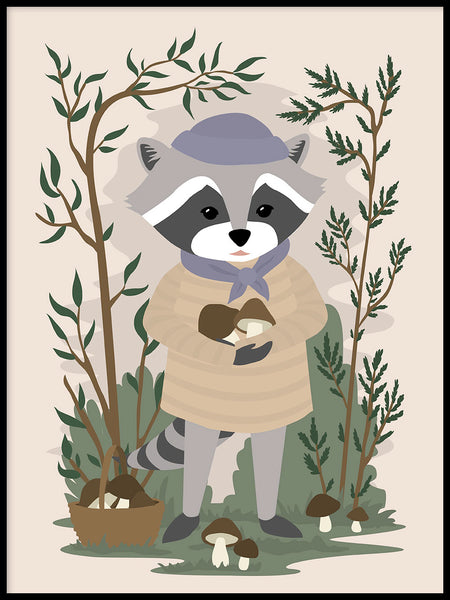 Poster: Raccoon, by Linn Leding