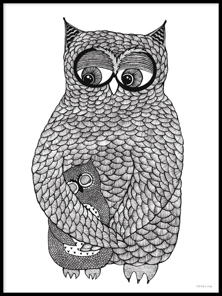 Poster: Hugging owls, by Tovelisa