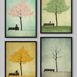 Poster: Under the cherry tree, Spring, by Majali Design & Illustration