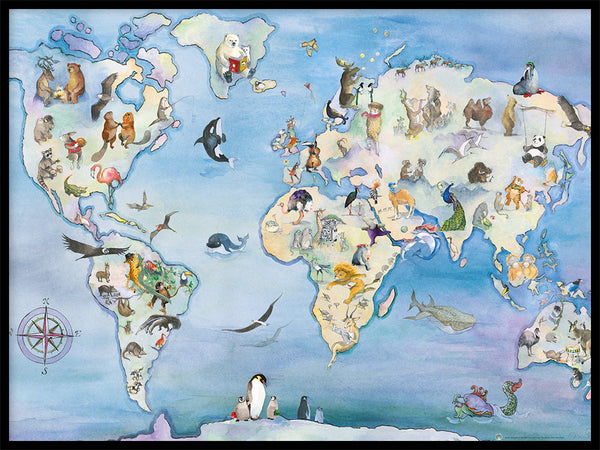 Poster: Map of the world, by Animo
