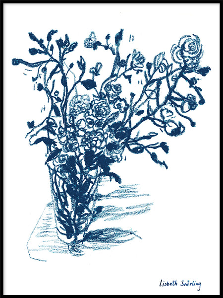 Poster: Wild roses in a vase, by Lisbeth Svärling