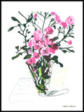 Poster: Wild pink roses in a vase, by Lisbeth Svärling