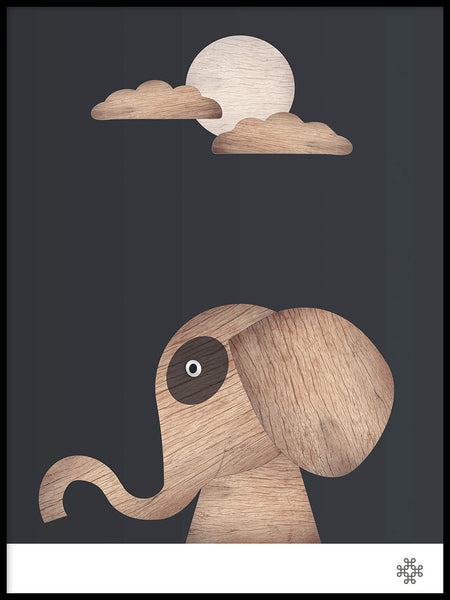 Poster: Wood Elephant, dark, by Paperago