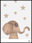 Poster: Wood Elephant, light, by Paperago