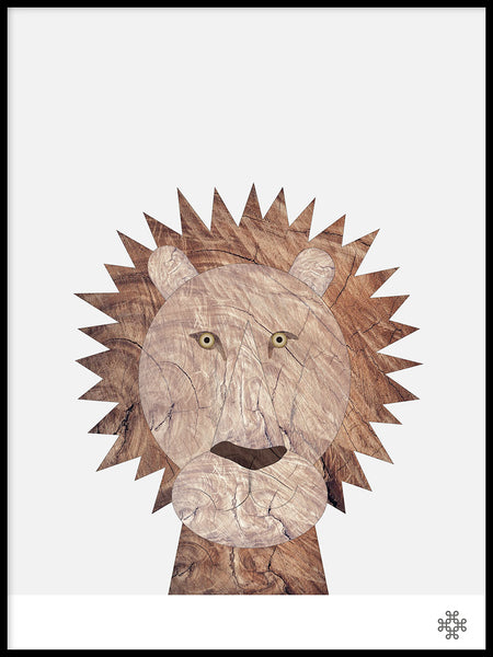 Poster: Wood Lion, by Paperago