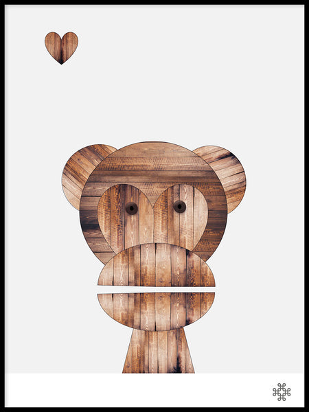 Poster: Wood Monkey, by Paperago