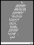 Poster: Sweden, gray, by Caro-lines
