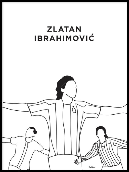 Poster: Zlatan Ibrahimovic Celebrations Outline, by Tim Hansson