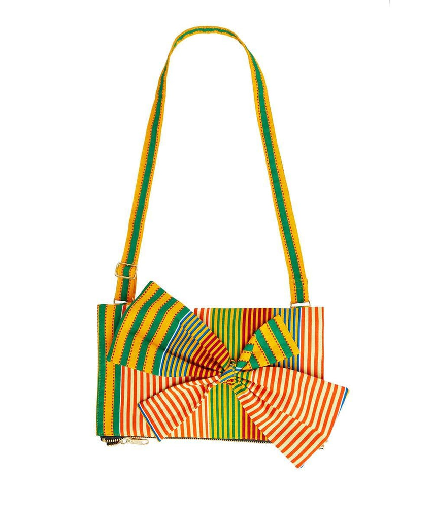 Goldenrod with orange, green, blue and red colored striped print Ankara fabric. Adjustable shoulder stripes.