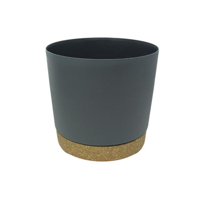 "9.5"" Contemporary Flower Pot with Saucer - Shadow Gray"
