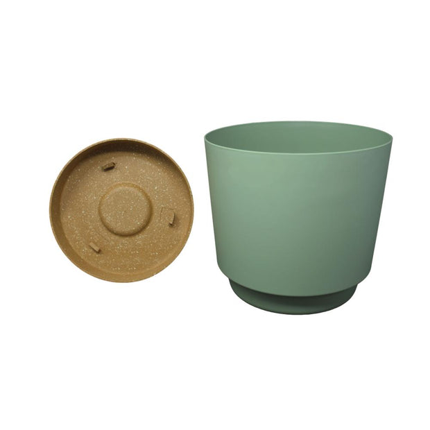 "9.5"" Contemporary Flower Pot with Saucer - Cool Mint"