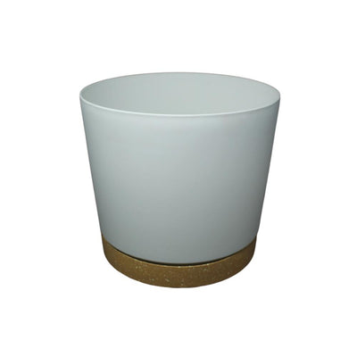 "9.5"" Contemporary Flower Pot with Saucer - Designer White"