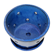 "10"" Bay Blue Round Ceramic Orchid Pot"