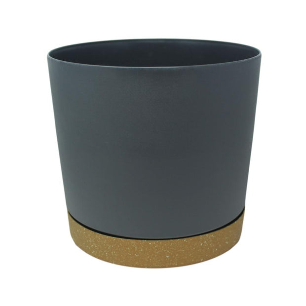 "11.5"" Contemporary Flower Pot with Saucer - Shadow Gray"