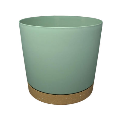 "11.5"" Contemporary Flower Pot with Saucer - Cool Mint"