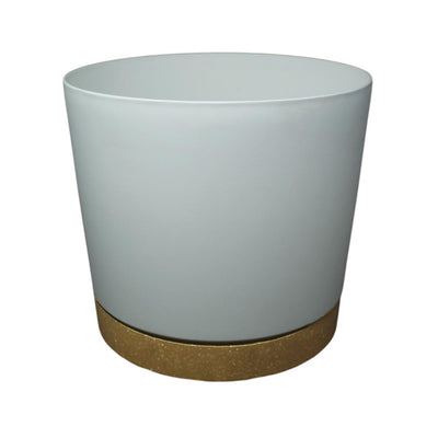 "11.5"" Contemporary Flower Pot with Saucer - Designer White"