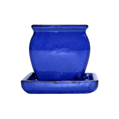 "3"" Midnight Blue Ceramic Succulent Pot - Rounded Rectangle"