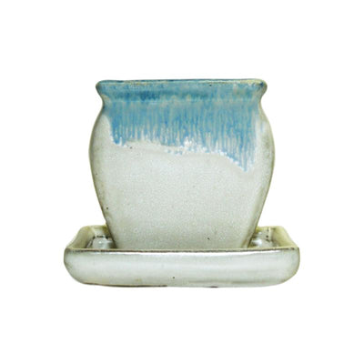 "3"" Ocean Mist Over White Diamond Ceramic Succulent Pot - Rounded Rectangle"