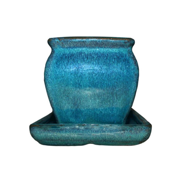 "3"" Teal Jade Ceramic Succulent Pot - Rounded Rectangle"