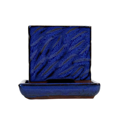 "3"" Midnight Blue Ceramic Succulent Pot - Rugged Square"