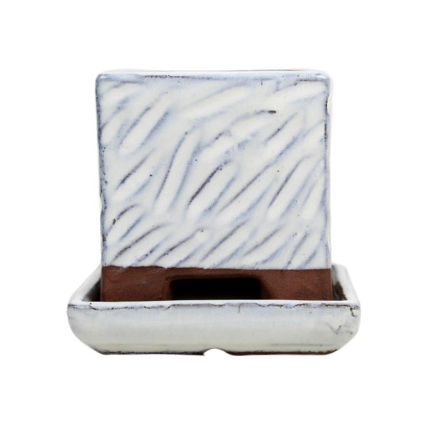 "3"" White Diamond Ceramic Succulent Pot - Rugged Square"