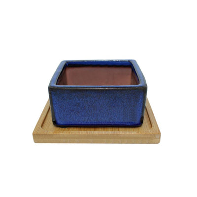 "4"" Midnight Blue Square Ceramic Succulent Pot With Decorative Bamboo Saucer"