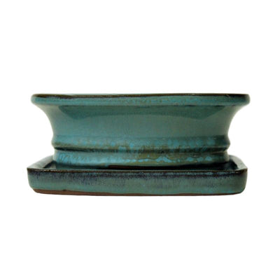"6"" Aqua Oval Ceramic Bonsai Pot"