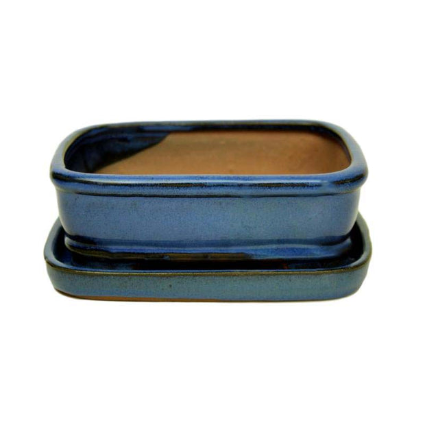 "6"" Blue Rounded Rectangle Ceramic Bonsai Pot"